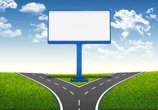 Fork in the road. Decision-making framework. Large blank billboard Stock Photo
