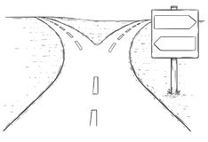 Fork in the Road Empty Arrow Sign Drawing. Vector drawing of fork in the road with empty blank decision arrow signs Stock Photos