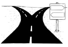 Fork in the Road Empty Arrow Sign Drawing. Vector drawing of fork in the road with empty blank decision arrow signs Royalty Free Stock Image