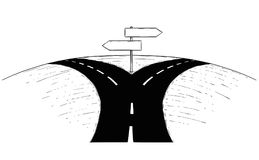 Fork in the Road Empty Arrow Sign Drawing. Vector drawing of fork in the road with empty blank decision arrow signs Royalty Free Stock Photos
