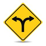 Fork in the road sign. Vector illustration Royalty Free Stock Image