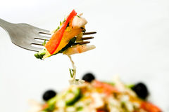 Fork with salad Stock Photos