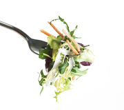 Fork With Salad And Carrots Stock Photos
