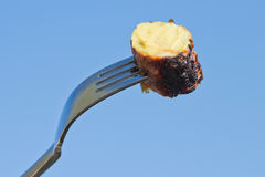 Fork with sausage Stock Images