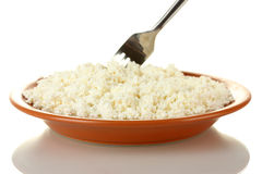 Fork scoops of cottage cheese Stock Image