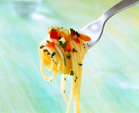 Fork with spaghetti Royalty Free Stock Photos