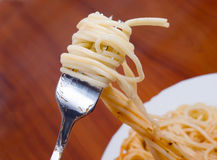 Fork with spaghetti Stock Photography
