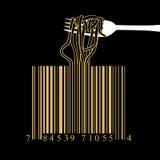 Fork spaghetti barcode design idea concept on black background vector illustration