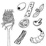 Fork with spaghetti. And different food pieces, hand drawn vector illustration Royalty Free Stock Images