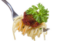 Fork with spaghetti with meat sauce Stock Photo