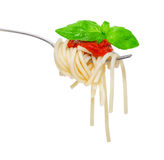 Fork with spaghetti sauce and-basil Stock Photos