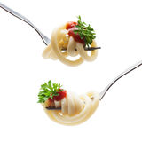 Fork with spaghetti sauce and parsley Stock Photography