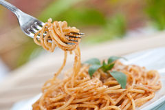 Fork with spaghetti tomato Royalty Free Stock Photo