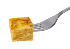 Fork with spanish omelette snack. Royalty Free Stock Photos