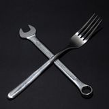 Fork and spanner Royalty Free Stock Images