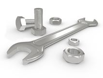 The fork spanner and nut bolt Royalty Free Stock Photography