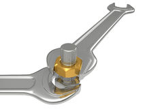 The fork spanner and nut bolt Royalty Free Stock Photo
