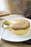 Fork on sponge cake Stock Photos