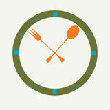 Fork and spoon as a clock, clock icon. Royalty Free Stock Photo