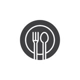 Fork, spoon, dish icon vector, filled flat sign, solid pictogram isolated on white. Stock Photography
