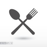 Fork and spoon - flat icon. Sign Food Royalty Free Stock Photos