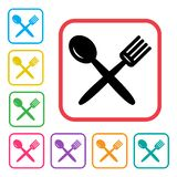 Fork and spoon icon. Black icon and colorful set additional versions icons. Vector vector illustration