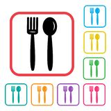 Fork and spoon icon. Black icon and colorful set. Vector illustration stock illustration