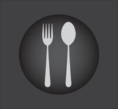 Fork and spoon icon - restaurant sign,black button Stock Photography