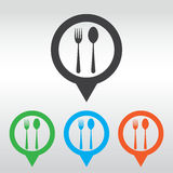 Fork and spoon icon - restaurant sign,. icon map pin Royalty Free Stock Image