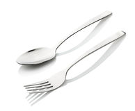 Fork and spoon isolated on white Royalty Free Stock Photos