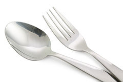 Fork and Spoon isolated on white background Royalty Free Stock Photography