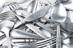 Fork and Spoon with knife Stock Photo