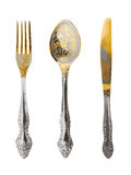 Fork, spoon and knife Stock Photos