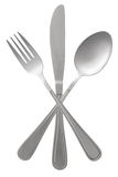 Fork spoon and knife crossed Royalty Free Stock Photos