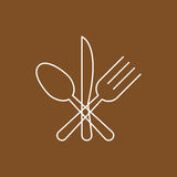 Fork, spoon and knife crossed vector illustration. Royalty Free Stock Photography