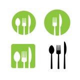 Fork spoon knife  icon set Stock Photos