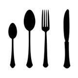 Fork spoon knife. Kitchen fork spoon knife black contour outline vector illustration