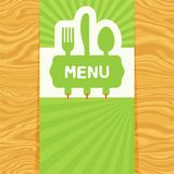 Fork, spoon and knife, tag for text. Flat design. Page with fork, spoon and knife with tag for text on seamless wood pattern. Cutlery for the menu of restaurant royalty free illustration