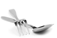 Fork and spoon macro Stock Images
