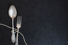 Fork and spoon with pearls Stock Photo