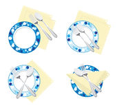 Fork spoon plate. Spoon and fork are in different positions on the plate Royalty Free Stock Photos