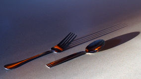Fork and Spoon with Shadows. Golden sunlight casts long shadows from fork and spoon Royalty Free Stock Photo