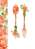 Fork and spoon. Silhouette of roses, watercolor Royalty Free Stock Photography