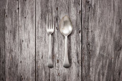 Fork Spoon Wood Background Stock Photo