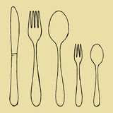 Fork spoons and knife hand drawing. Vector sketch Stock Photos