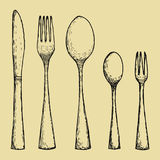 Fork spoons and knife hand drawing. Vector sketch Royalty Free Stock Photos