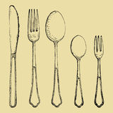 Fork spoons and knife hand drawing. Vector sketch Stock Photography