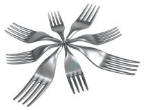 Fork Star. Metal surreal, 3d illustration, horizontal, isolated, over white Royalty Free Stock Photo