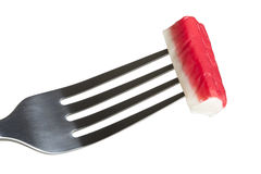Fork with surimi Royalty Free Stock Photos