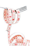 Fork with tape measure. For diet concept Stock Photo